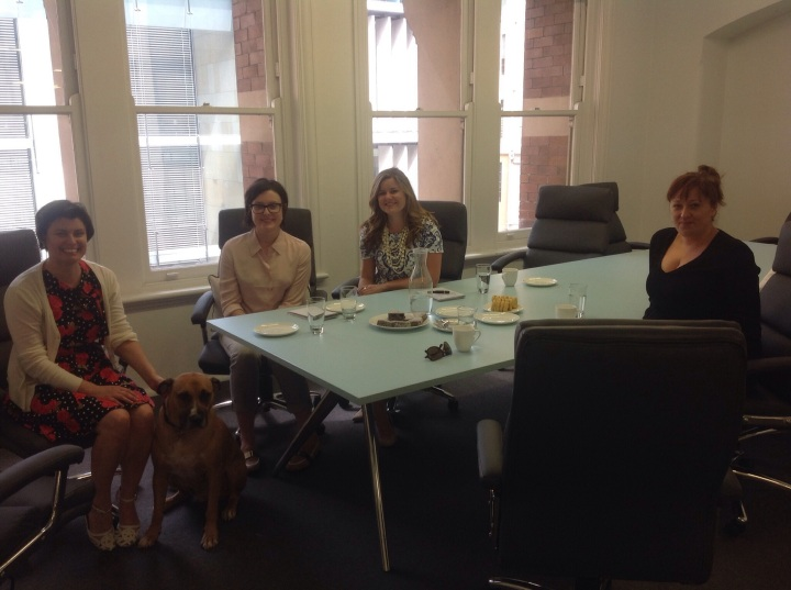The team at Bloomsbury Australia with office dog Jackson!